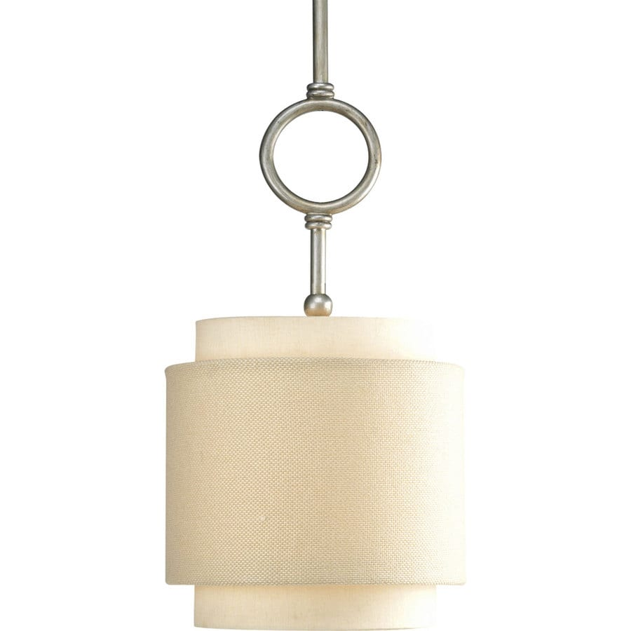 Progress Lighting Ashbury 10-in Silver Ridge Mini Tinted Glass Bell Pendant