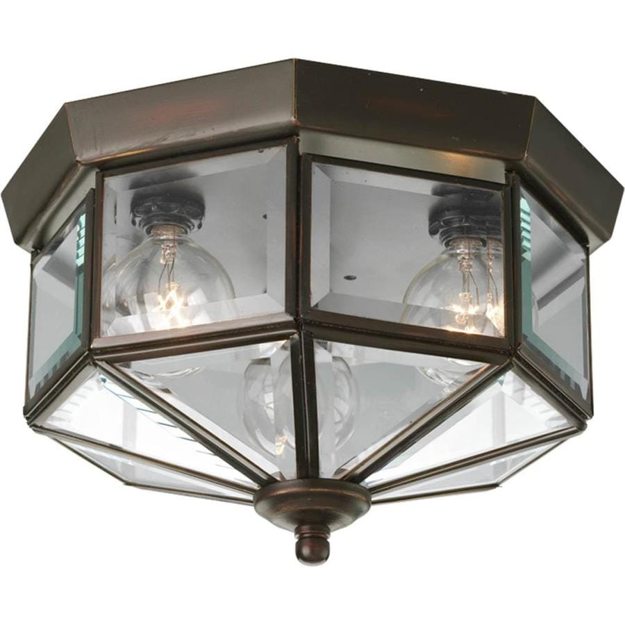 Progress Lighting Beveled Glass 9.75-in W Antique Bronze Ceiling Flush Mount Light