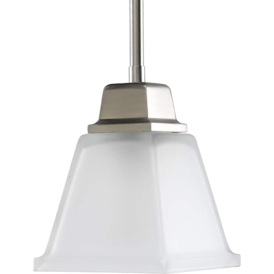 Progress Lighting North Park 5.5-in Brushed Nickel Mini Etched Glass Square Pendant