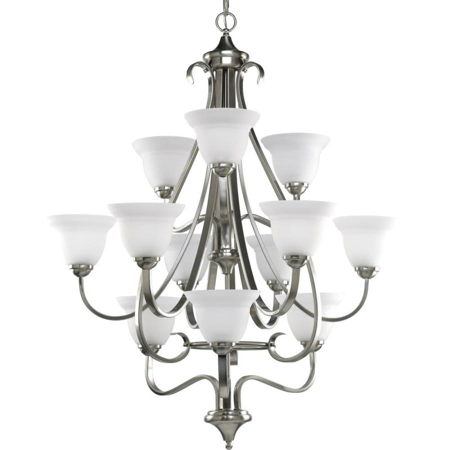 Progress Lighting Torino 34-in 12-Light Brushed Nickel Etched Glass Tiered Chandelier