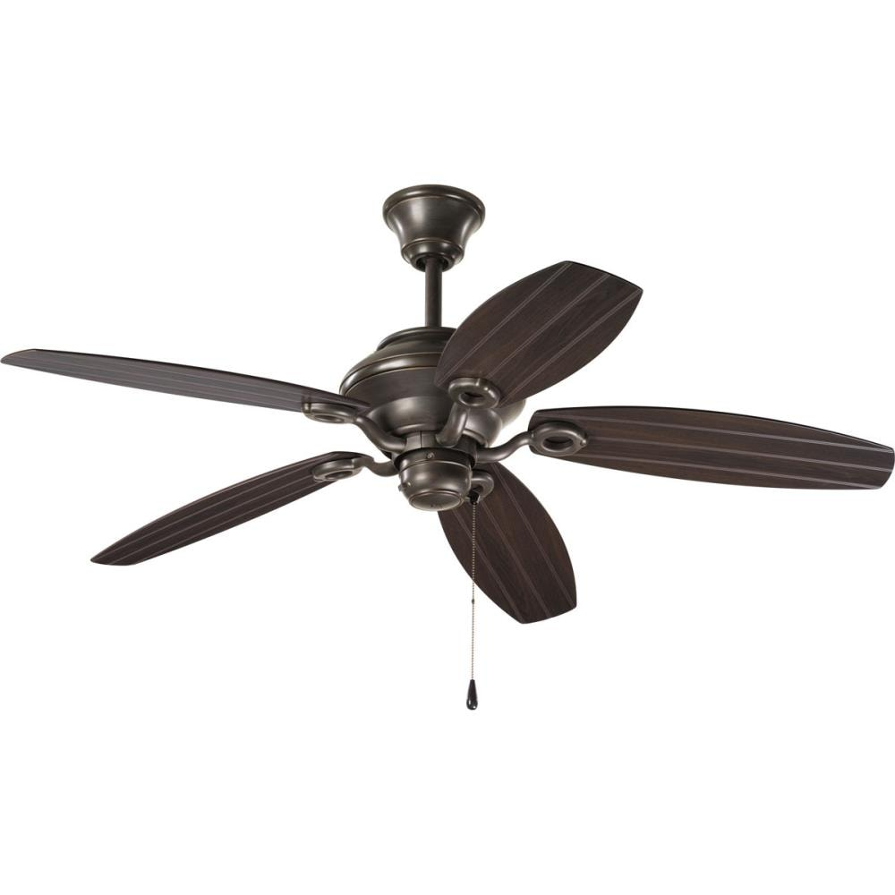 Progress Lighting AirPro 54-in Antique Bronze Downrod or Close Mount Indoor/Outdoor Ceiling Fan