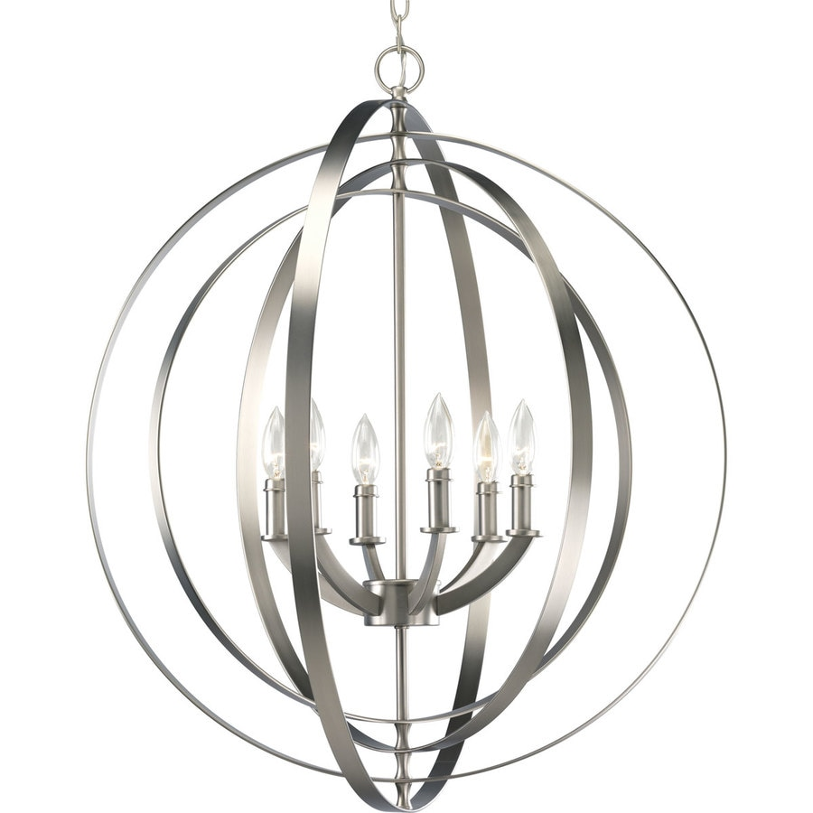 Progress Lighting Equinox 27.75-in 6-Light Burnished Silver Globe Chandelier