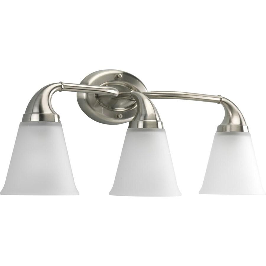 Progress Lighting Lahara 3-Light Brushed Nickel Bell Vanity Light