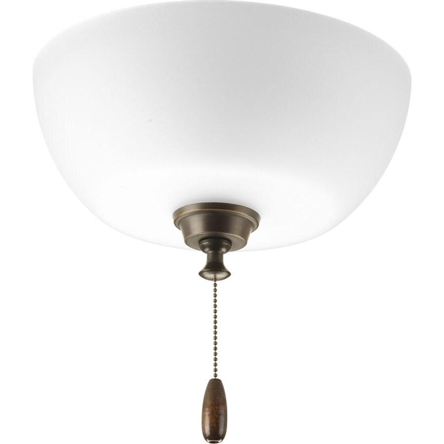 Progress Lighting Wisten 3-Light Antique Bronze Incandescent Ceiling Fan Light Kit with Etched Glass