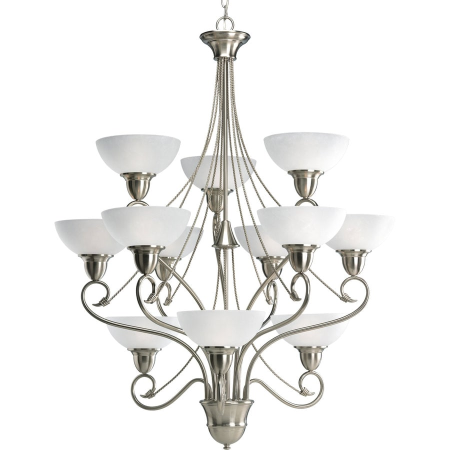 Progress Lighting Pavilion 34.75-in 12-Light Brushed Nickel Etched Glass Tiered Chandelier
