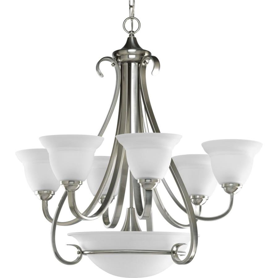 Progress Lighting Torino 28.625-in 6-Light Brushed Nickel Etched Glass Shaded Chandelier