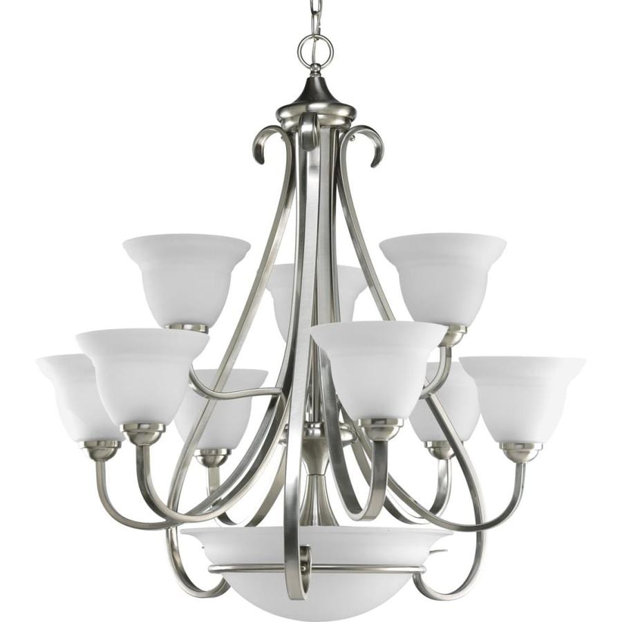 Progress Lighting Torino 32-in 9-Light Brushed Nickel Etched Glass Tiered Chandelier