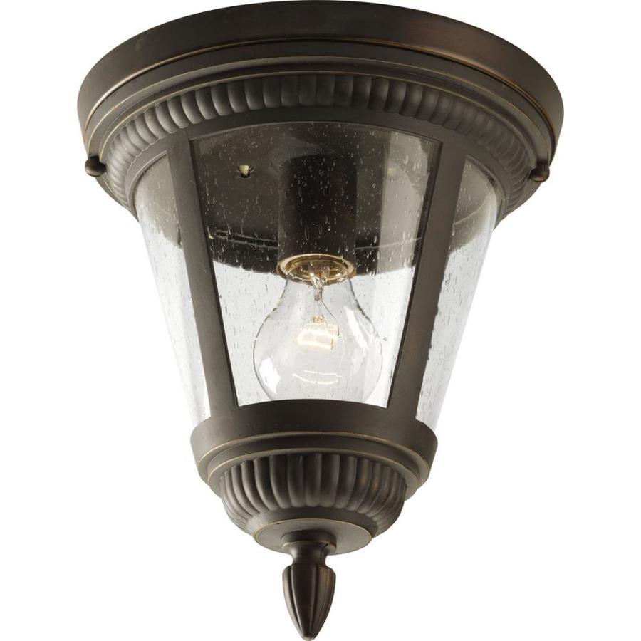 Progress Lighting Westport 9-in W Antique Bronze Outdoor Flush-Mount Light