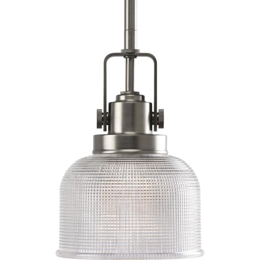 Progress Lighting Archie 5.75-in Antique Nickel Mini Clear Glass Dome Pendant