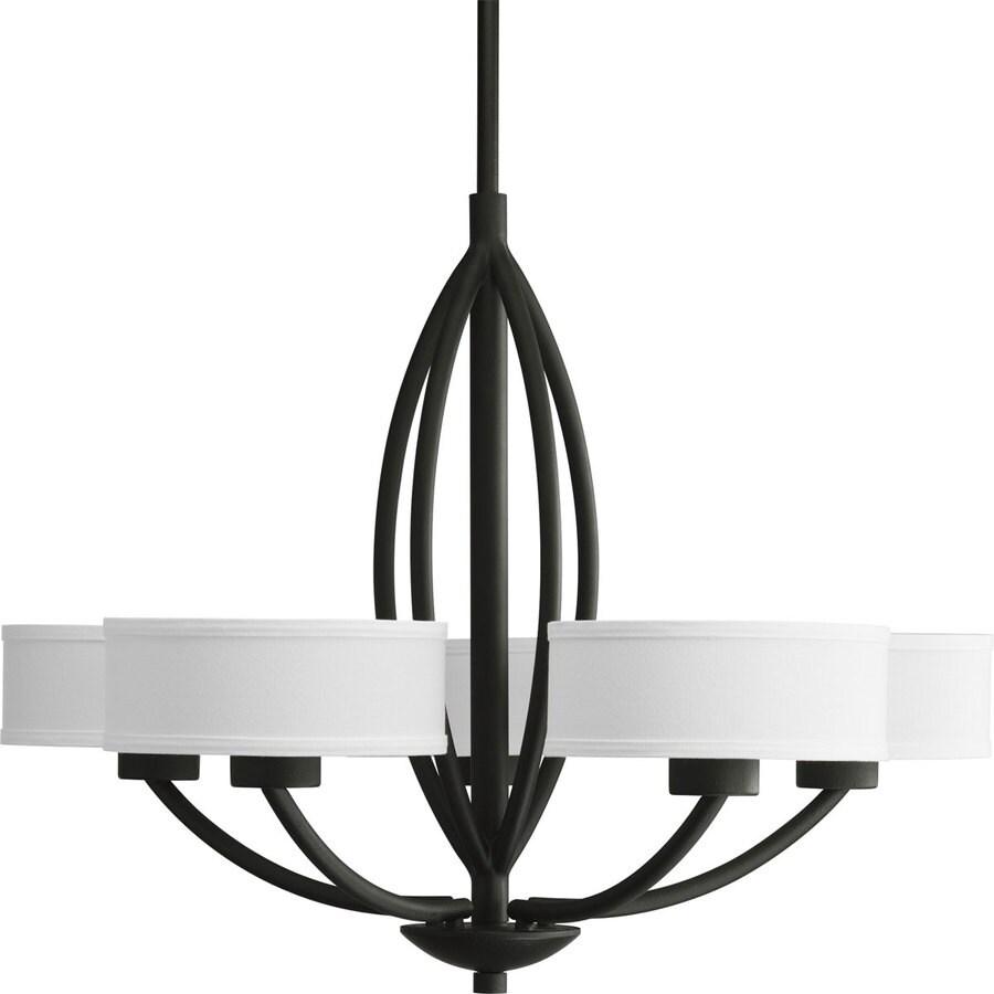 Progress Lighting Calven 30-in 5-Light Forged Black Shaded Chandelier