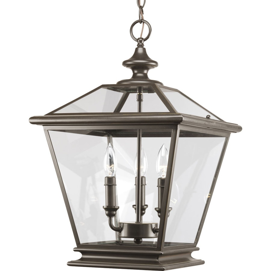 Progress Lighting Crestwood 14-in 3-Light Antique Bronze Clear Glass Cage Chandelier