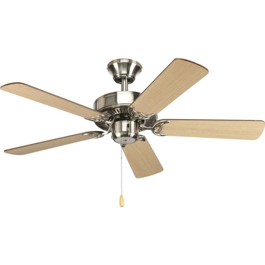 Progress Lighting AirPro Builder 42-in Brushed Nickel Downrod or Close Mount Indoor Ceiling Fan