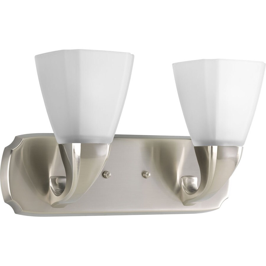 Shop Progress Lighting Addison 2 Light Brushed Nickel Square Vanity Light At