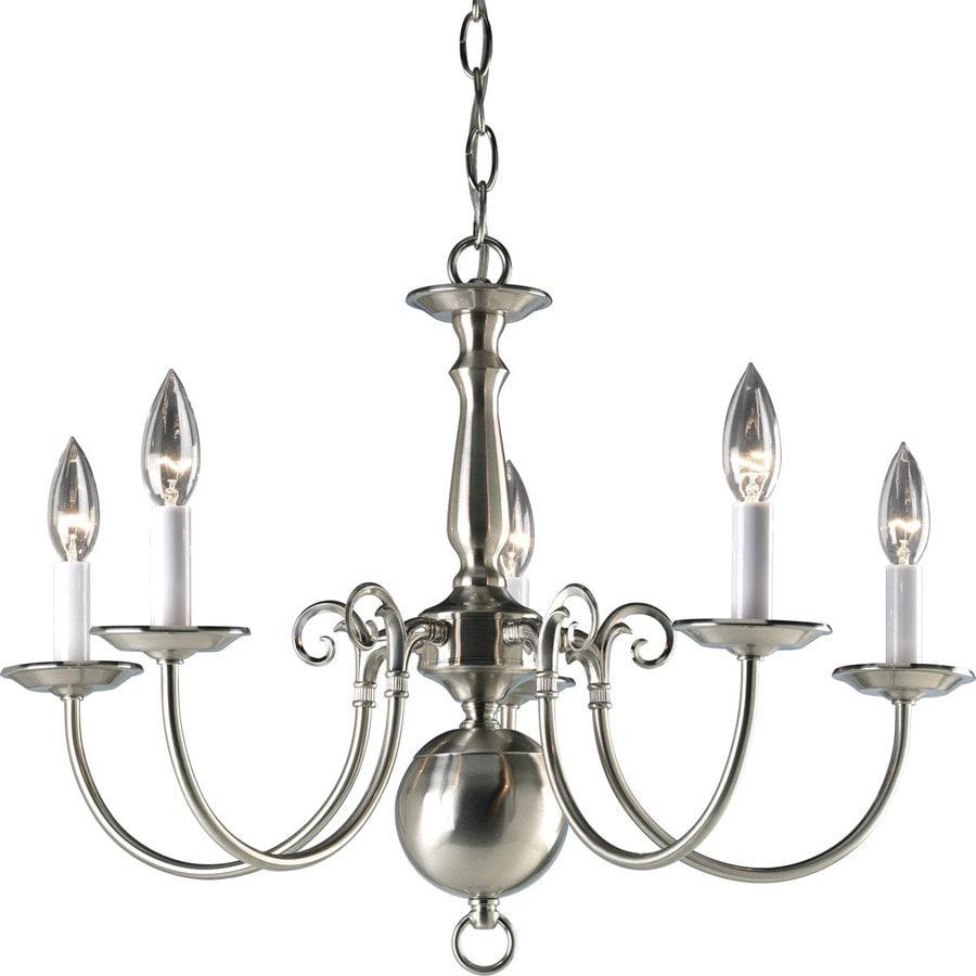 Progress Lighting Americana 23.5-in 5-Light Brushed Nickel Candle Chandelier