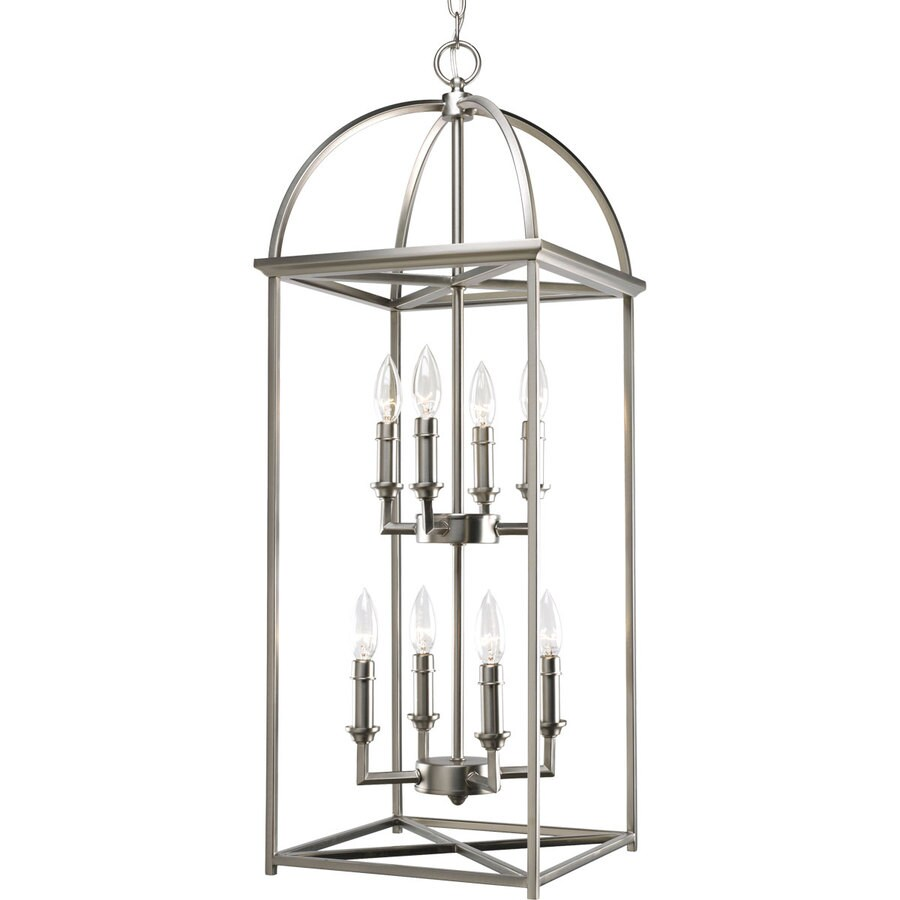 Progress Lighting Piedmont 12.3125-in 8-Light Burnished Silver Cage Chandelier