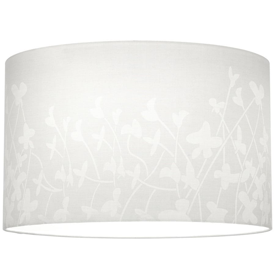 Progress Lighting Chloe 10-in H 16-in W White Floral Pattern Cylinder Pendant Light Shade