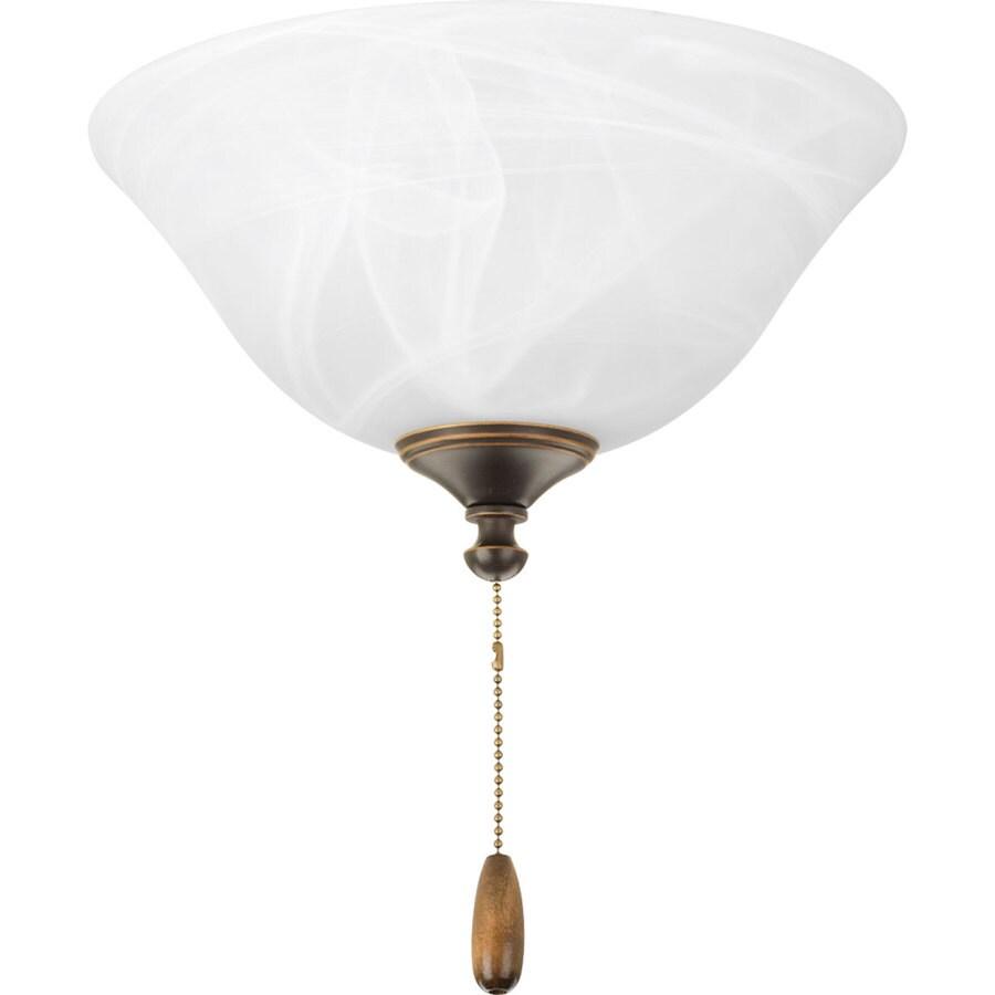 Shop progress lighting airpro 2 light antique bronze fluorescent ceiling fan light kit with - Vintage ceiling fan with light ...