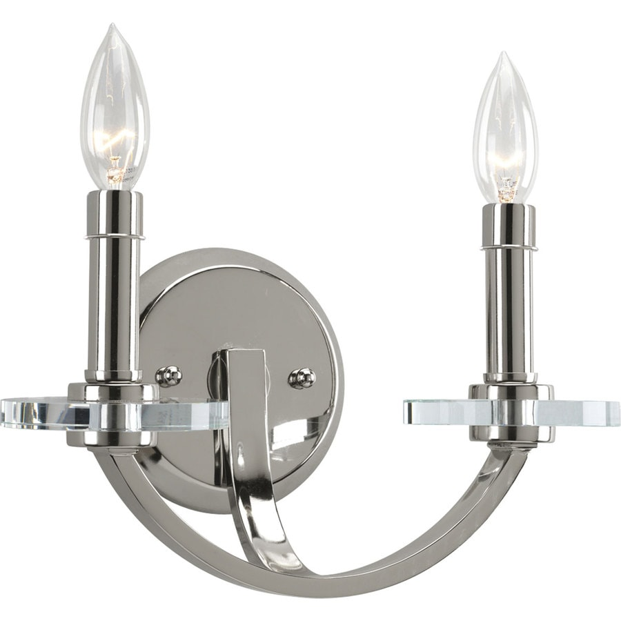 Progress Lighting Nisse 12-in W 2-Light Polished Nickel Candle Hardwired Wall Sconce