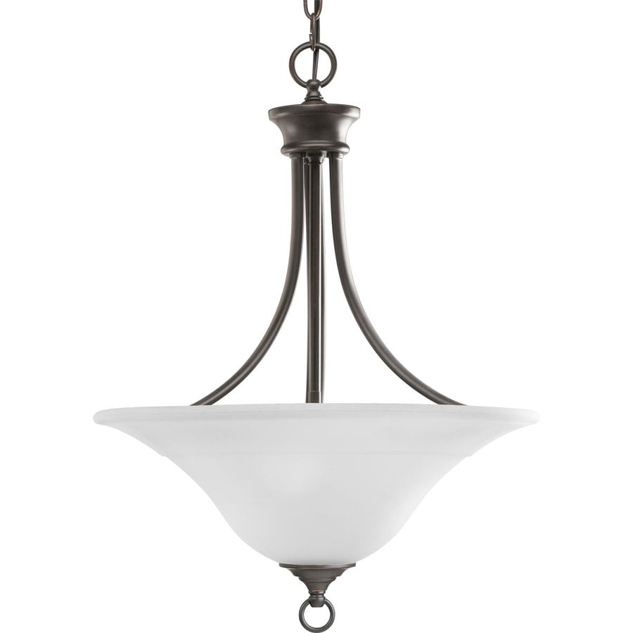 Progress Lighting Trinity 18-in 3-Light Antique Bronze Etched Glass Shaded Chandelier