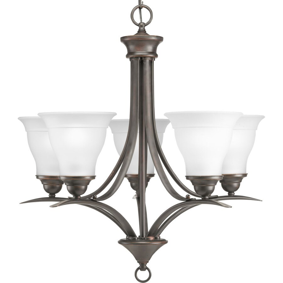 Progress Lighting Trinity 23-in 5-Light Antique Bronze Etched Glass Shaded Chandelier