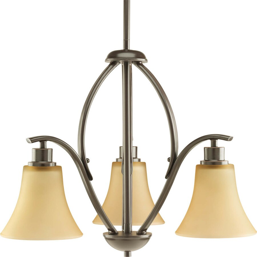 Progress Lighting Joy 20-in 3-Light Antique Bronze Etched Glass Shaded Chandelier