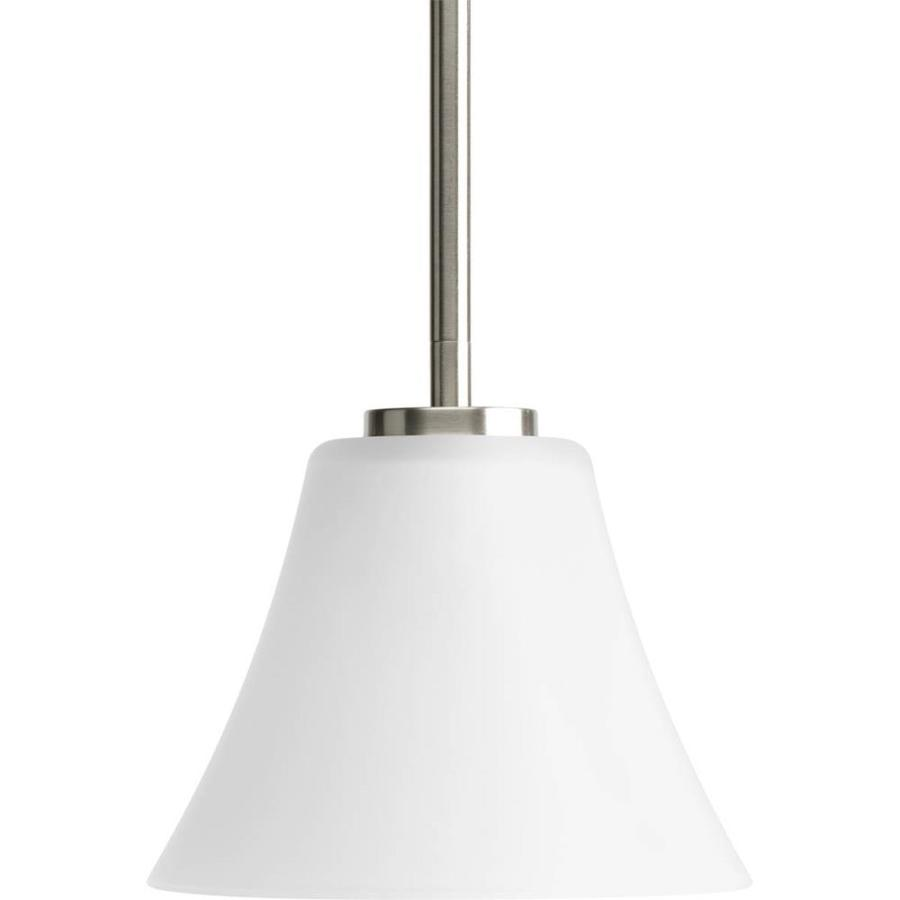 Progress Lighting Bravo 7.25-in Brushed Nickel Mini Etched Glass Bell Pendant