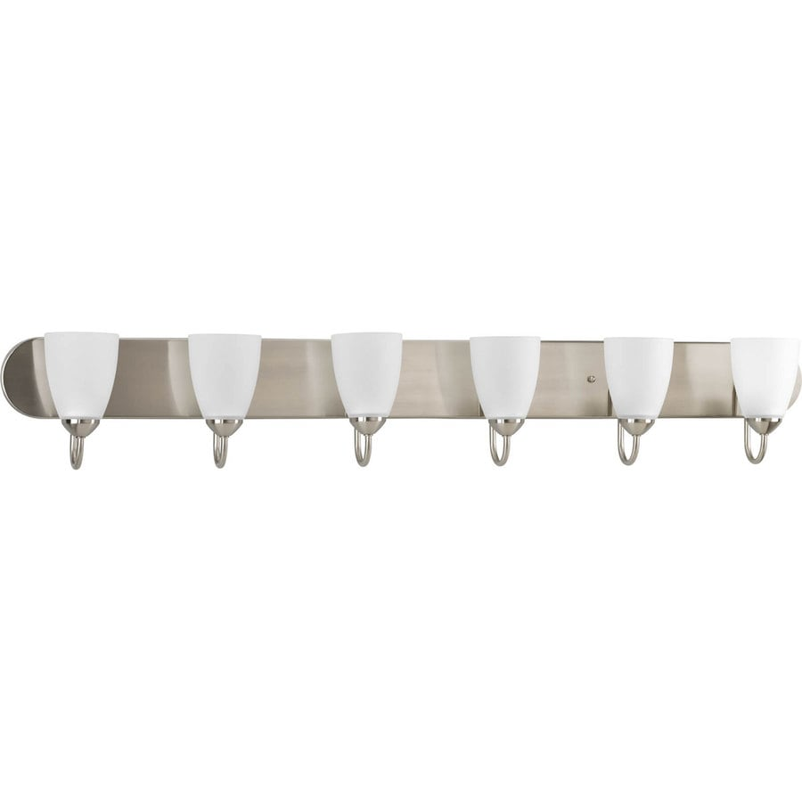 Shop Progress Lighting 6 Light Gather Brushed Nickel Bathroom Vanity Light At