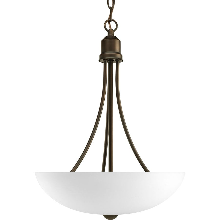Progress Lighting Gather 15-in 2-Light Antique Bronze Etched Glass Shaded Chandelier