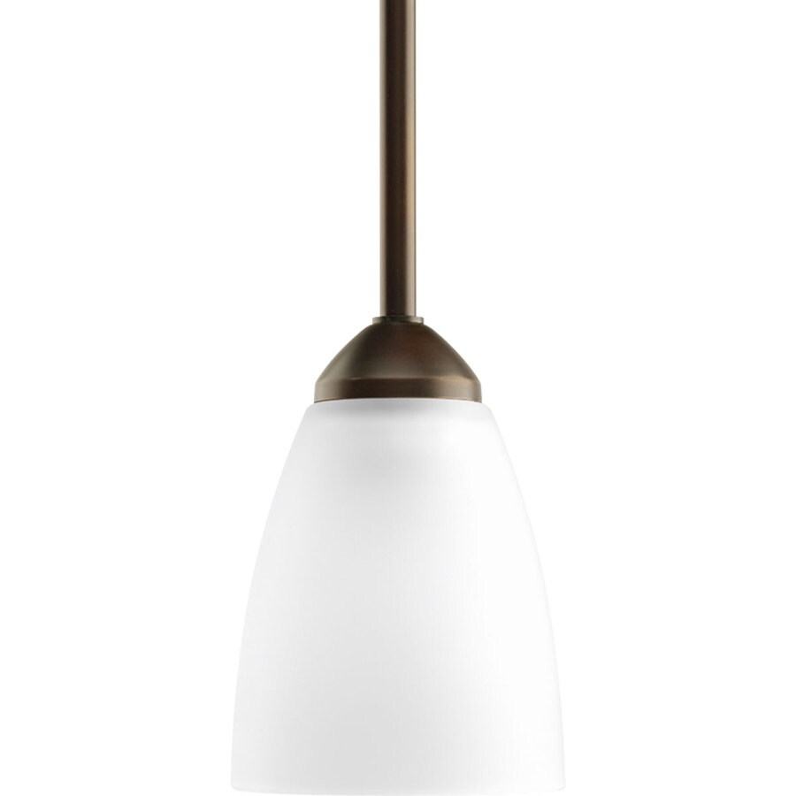 Progress Lighting Gather 4-in Antique Bronze Mini Etched Glass Cone Pendant