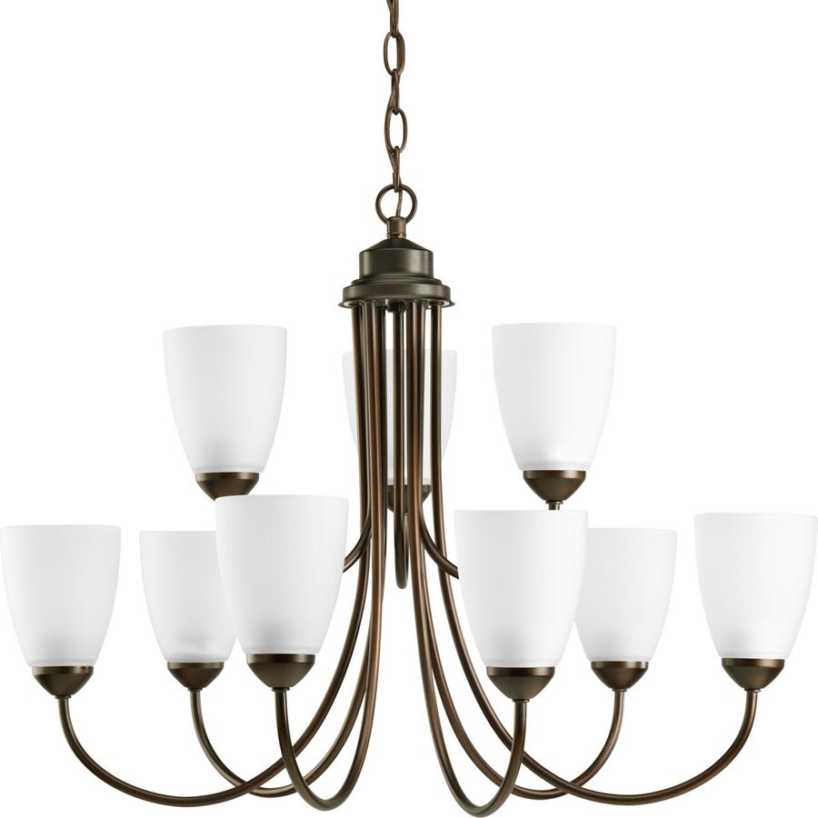 Progress Lighting Gather 27.75-in 9-Light Antique Bronze Etched Glass Tiered Chandelier