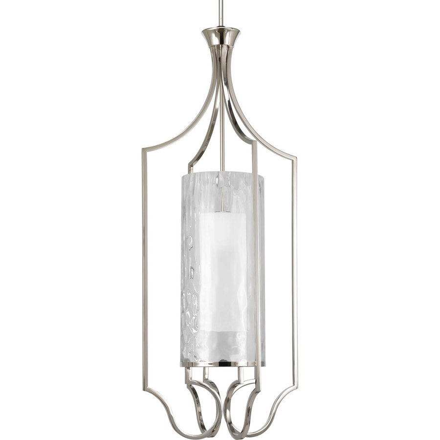 Progress Lighting Caress 18-in 1-Light Polished Nickel Clear Glass Shaded Chandelier