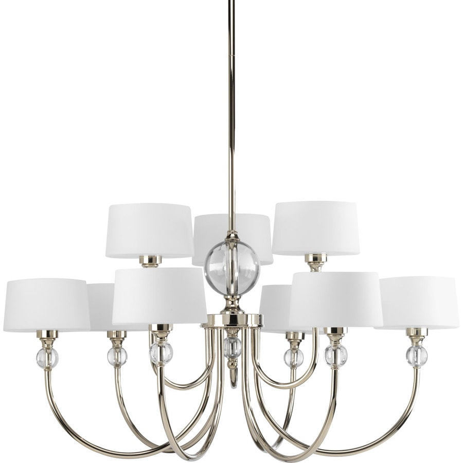 Progress Lighting Fortune 31-in 9-Light Polished Nickel Etched Glass Shaded Chandelier