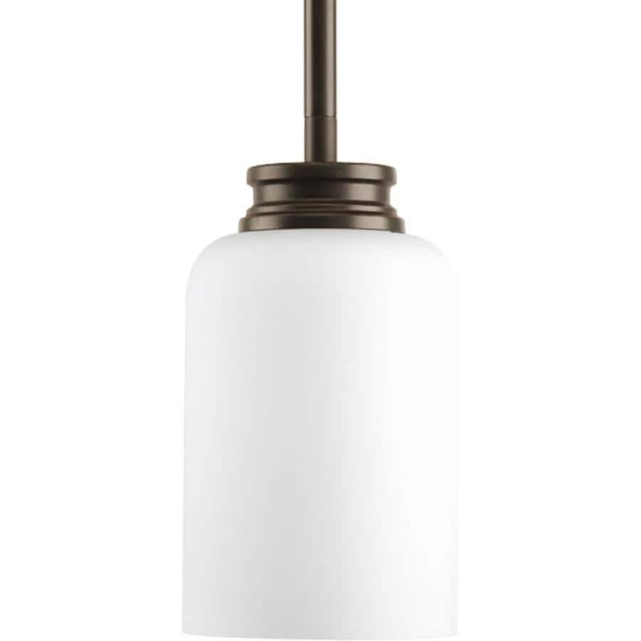 Progress Lighting Orbitz 4-in Antique Bronze Mini Etched Glass Cylinder Pendant