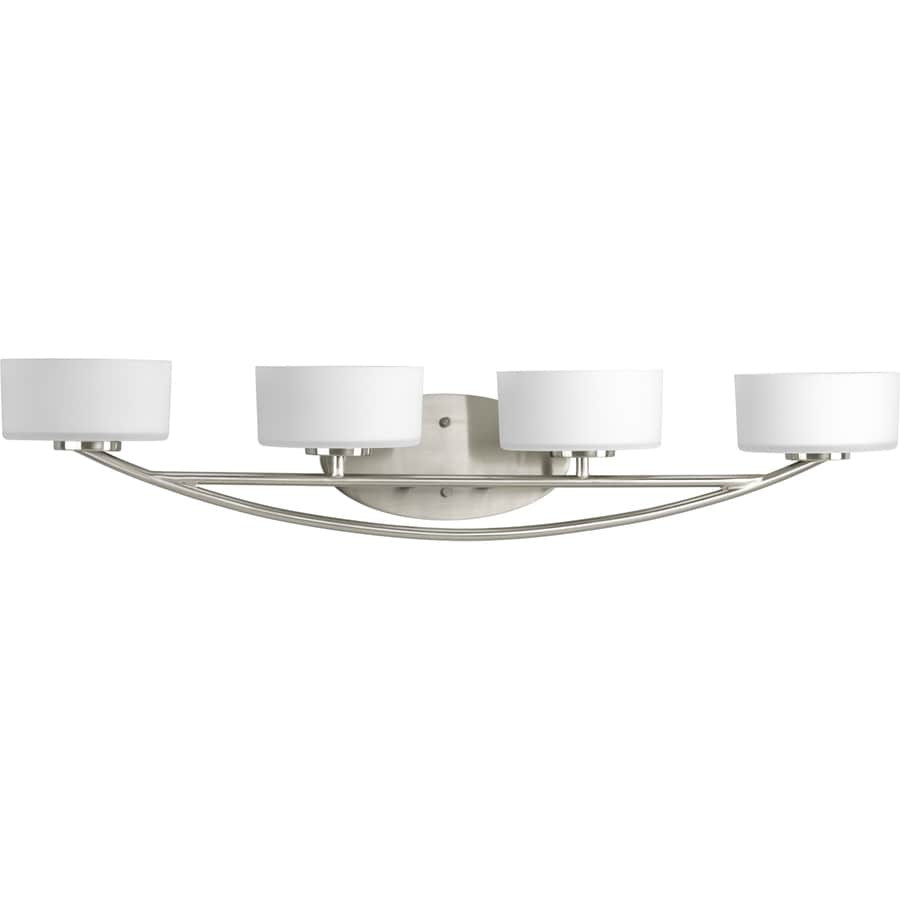 4 Light Brushed Nickel Vanity Lights : Shop Progress Lighting 4-Light Calven Brushed Nickel Bathroom Vanity Light at Lowes.com