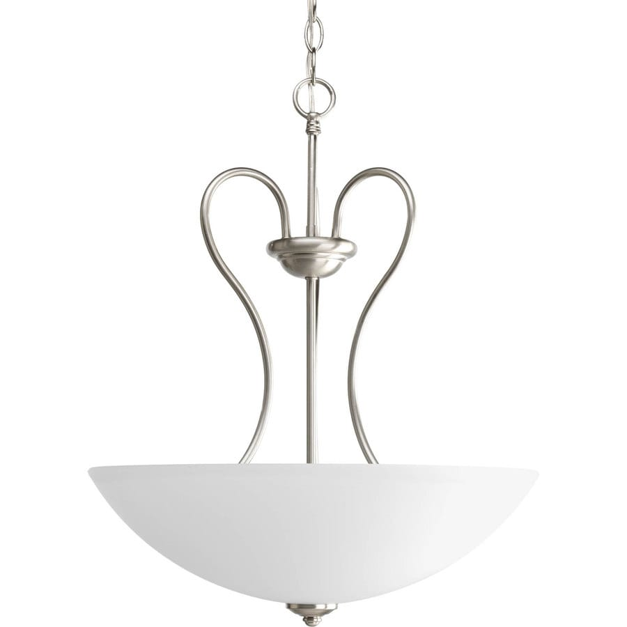 Progress Lighting Heart 17.75-in 3-Light Brushed Nickel Etched Glass Shaded Chandelier