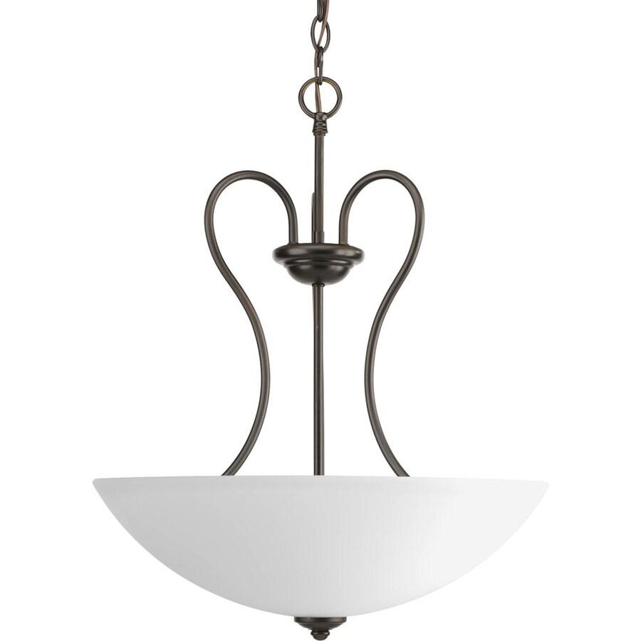Progress Lighting Heart 17.75-in 3-Light Antique Bronze Etched Glass Shaded Chandelier