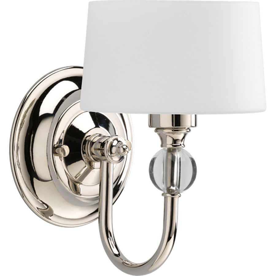 Progress Lighting Fortune 5.87-in W 1-Light Polished Nickel Arm Hardwired Wall Sconce