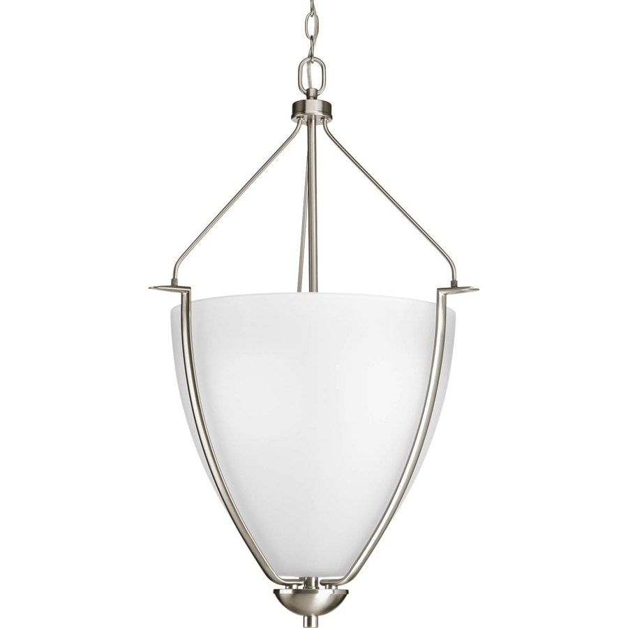 Progress Lighting Bravo 20-in 3-Light Brushed Nickel Etched Glass Shaded Chandelier