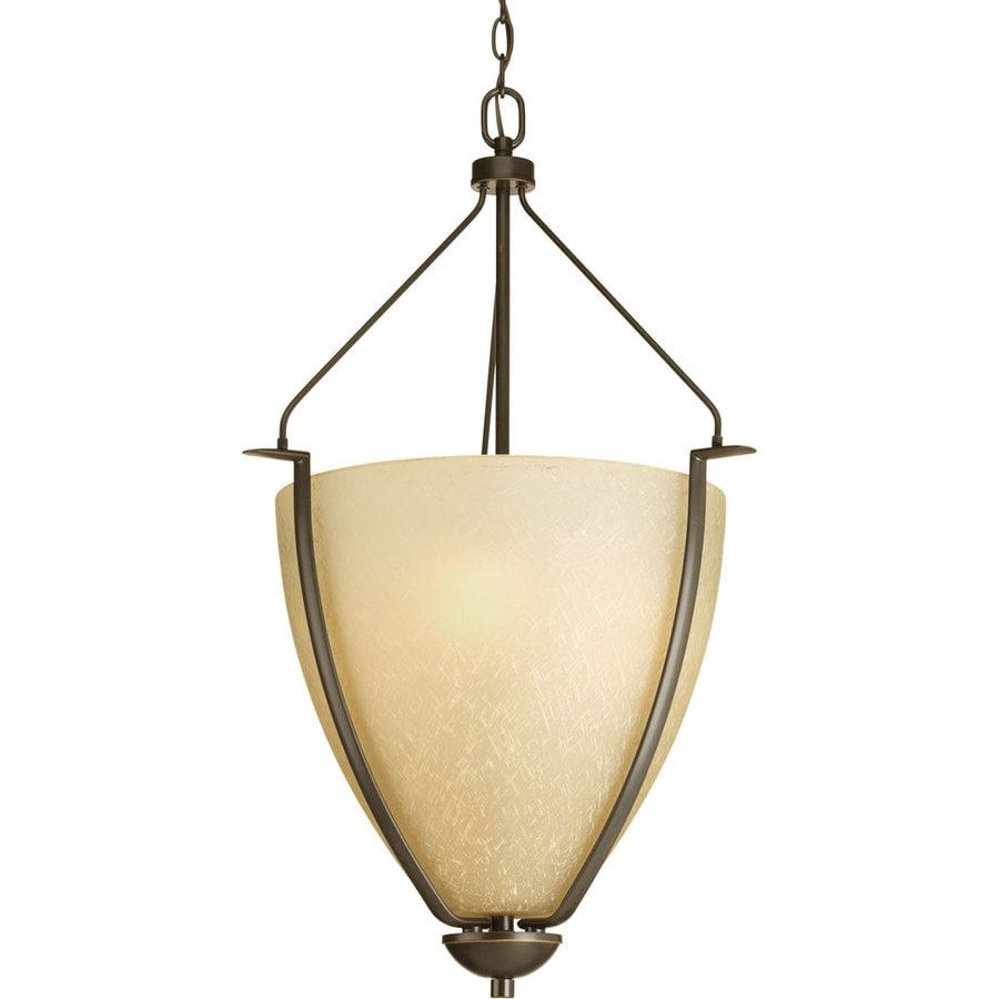 Progress Lighting Bravo 20-in 3-Light Antique Bronze Tinted Glass Shaded Chandelier