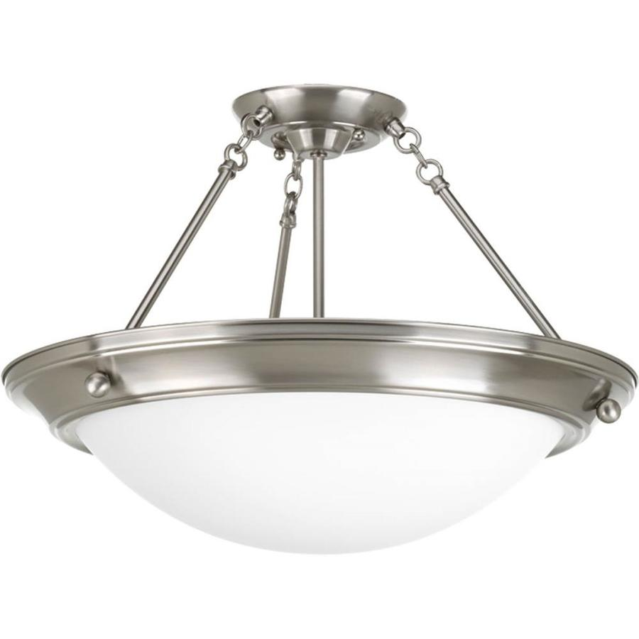 Progress Lighting Eclipse 19.37-in W Brushed Nickel Frosted Glass Semi-Flush Mount Light