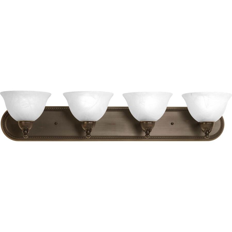 Shop progress lighting avalon 4 light antique bronze for Vintage bathroom vanity lights