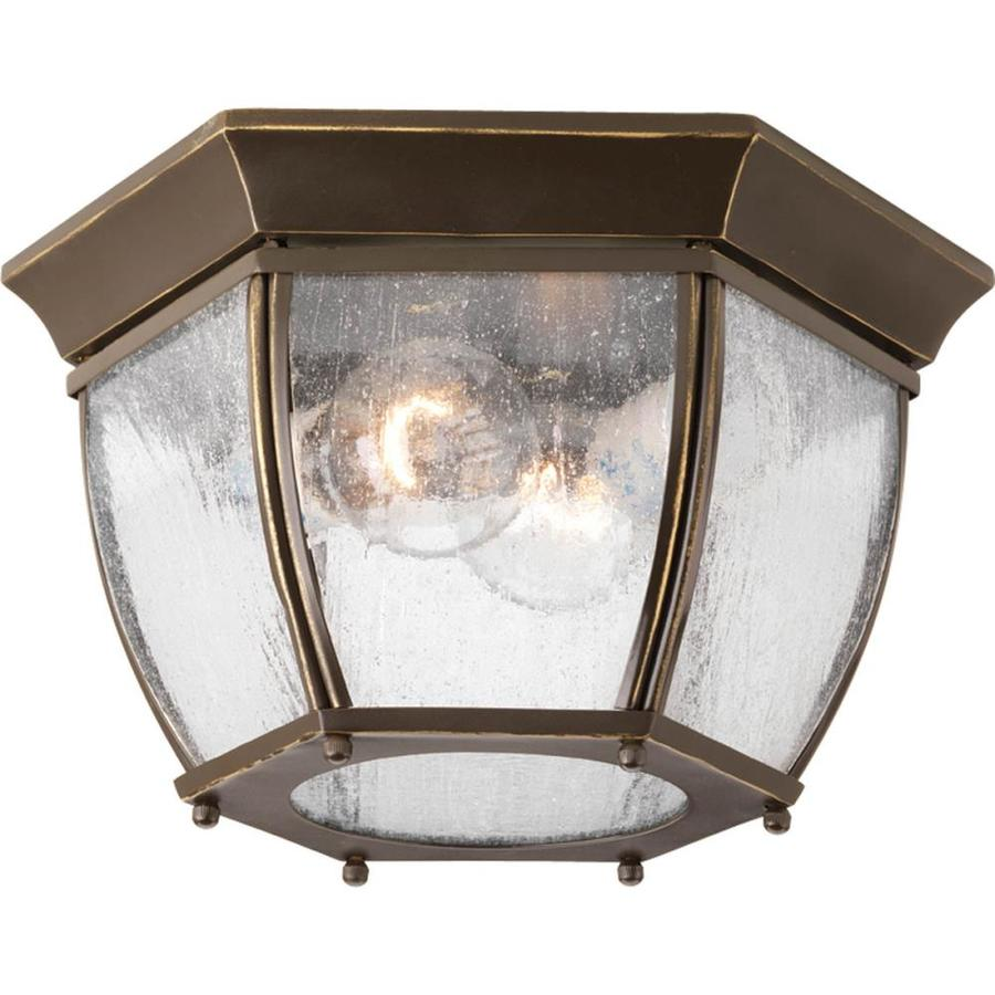 Progress Lighting Roman Coach 11-in W Antique Bronze Outdoor Flush-Mount Light