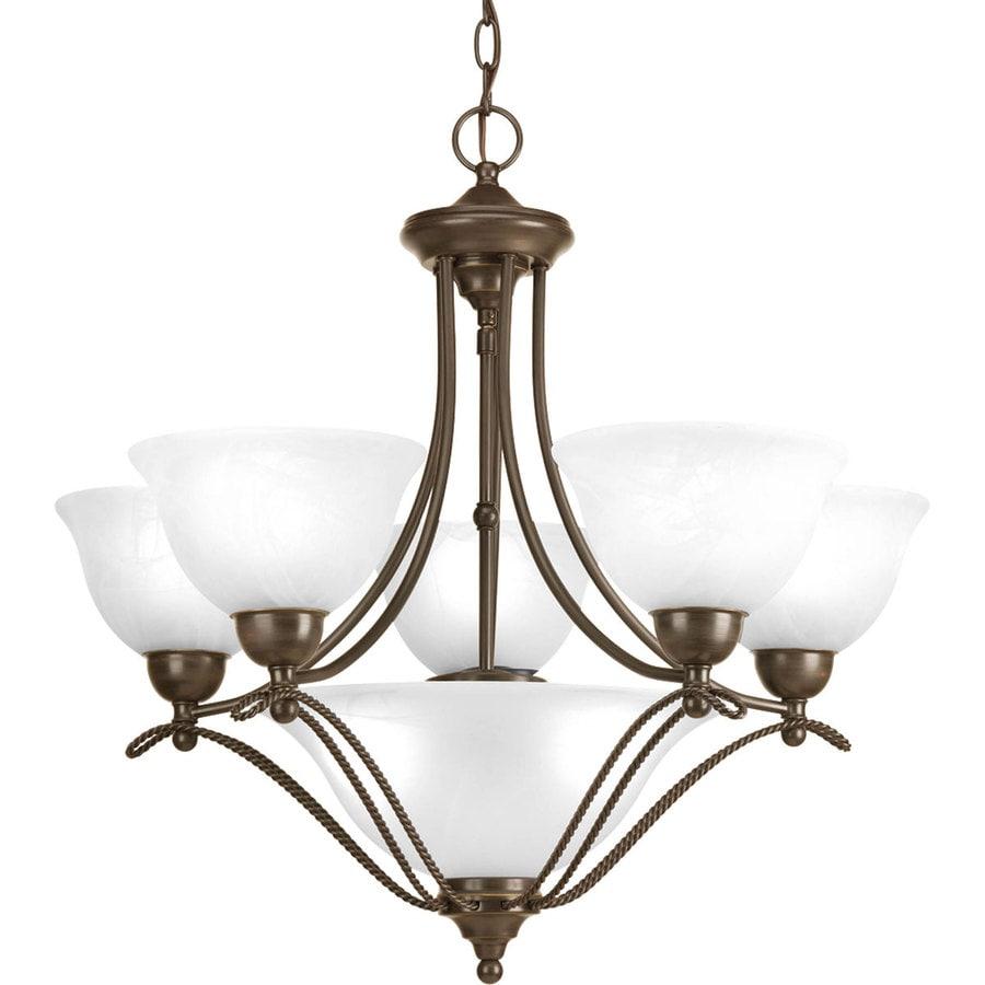 Progress Lighting Avalon 26.375-in 5-Light Antique Bronze Alabaster Glass Shaded Chandelier