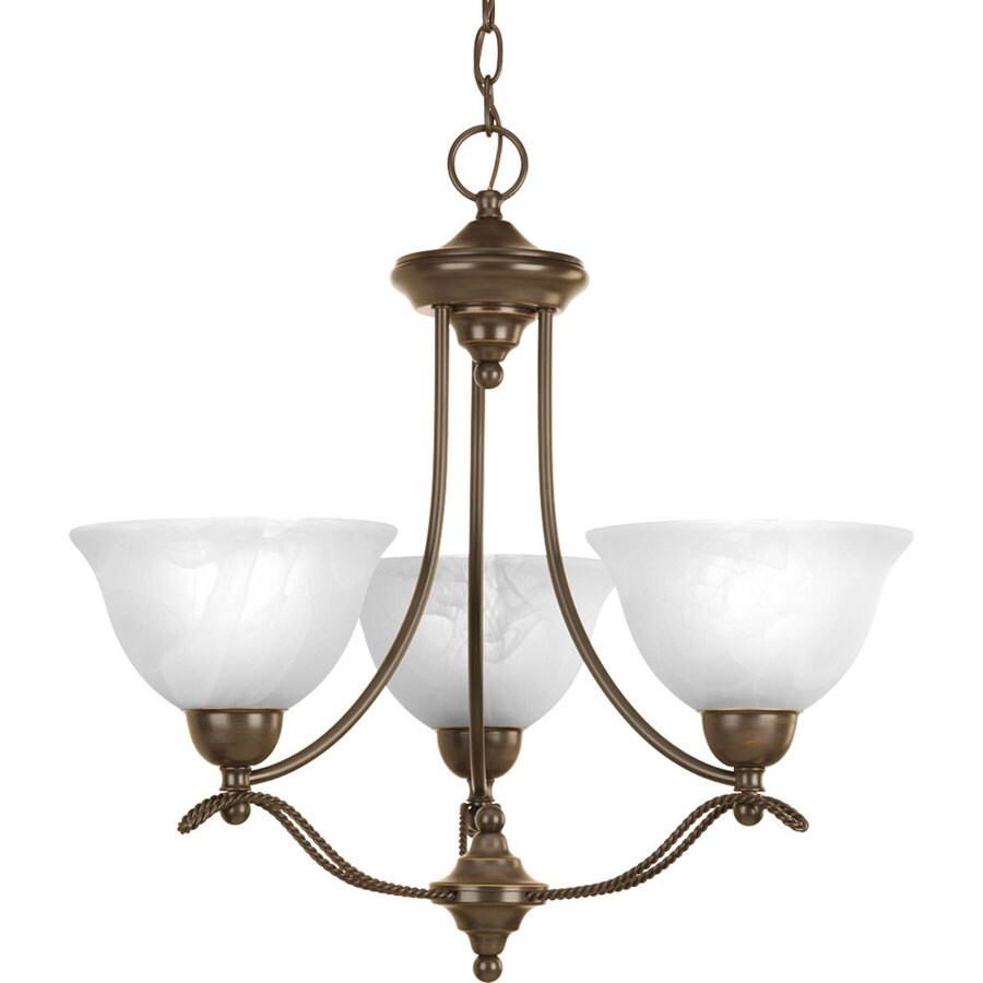 Progress Lighting Avalon 21.875-in 3-Light Antique Bronze Alabaster Glass Shaded Chandelier