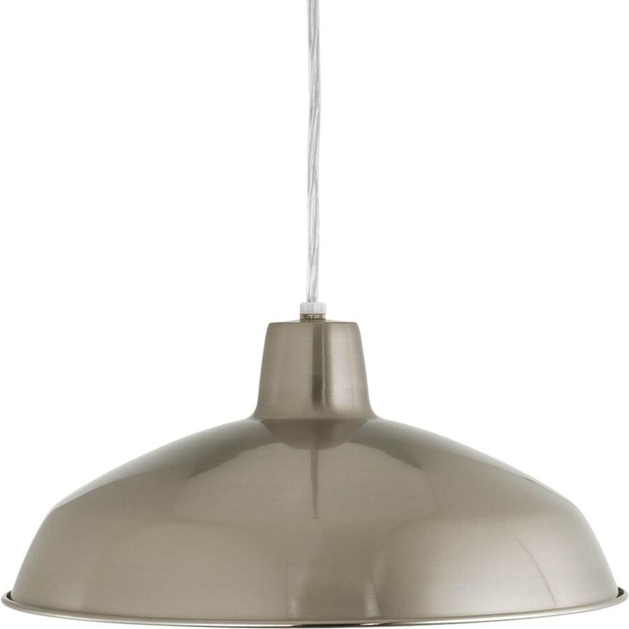 Progress Lighting 16-in Brushed Nickel Mini Textured Glass Bell Pendant