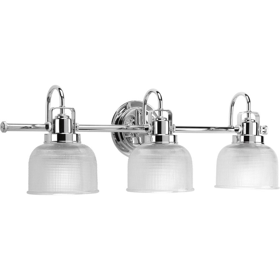 Shop progress lighting 3 light archie chrome bathroom for Bathroom light fixtures lowes