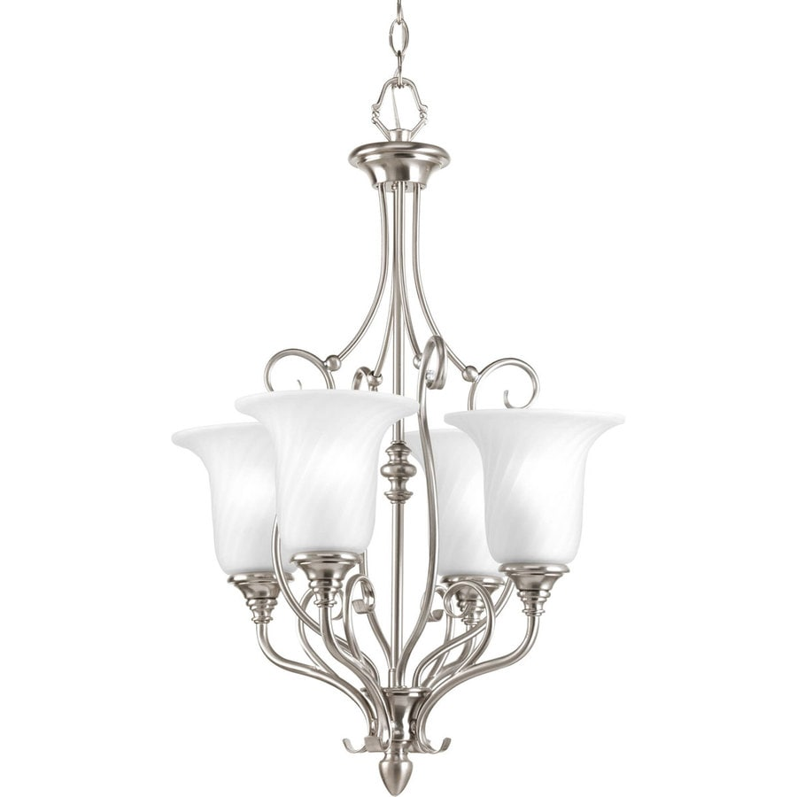 Progress Lighting Kensington 18-in 4-Light Brushed Nickel Etched Glass Shaded Chandelier