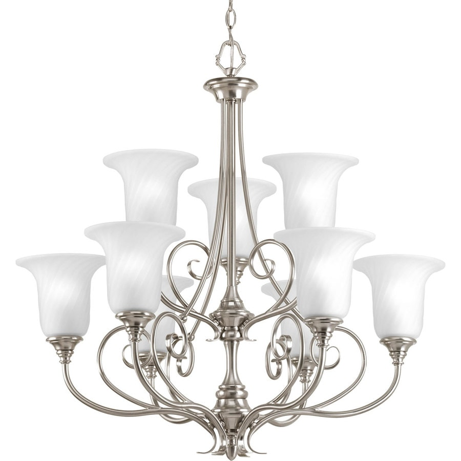Progress Lighting Kensington 31.5-in 9-Light Brushed Nickel Etched Glass Tiered Chandelier