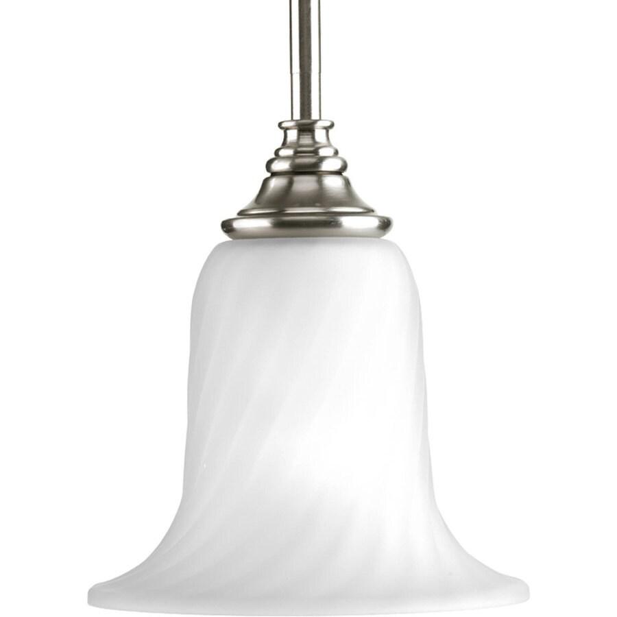 Progress Lighting Kensington 7-in Brushed Nickel Mini Etched Glass Bell Pendant