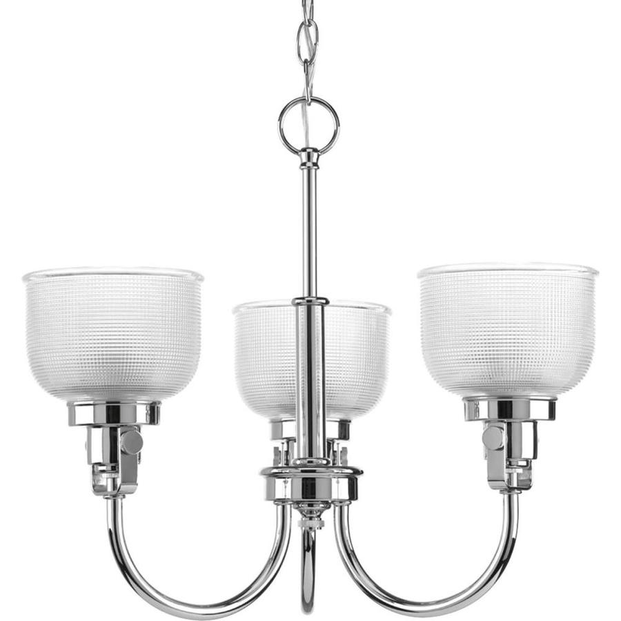 Progress Lighting Archie 20-in 3-Light Chrome Clear Glass Shaded Chandelier